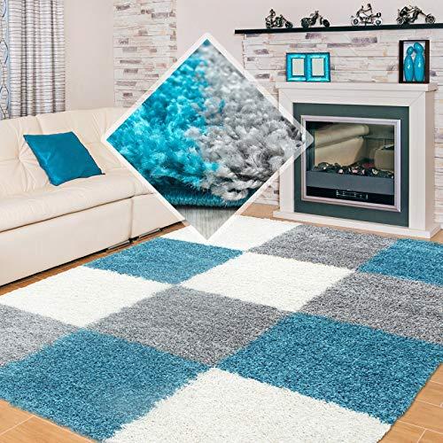 Carpet 1001 Shaggy, Pelo Largo Salón Shaggy Alfombra a Cuadros Turquesa, Blanco y Gris - 120x170 cm