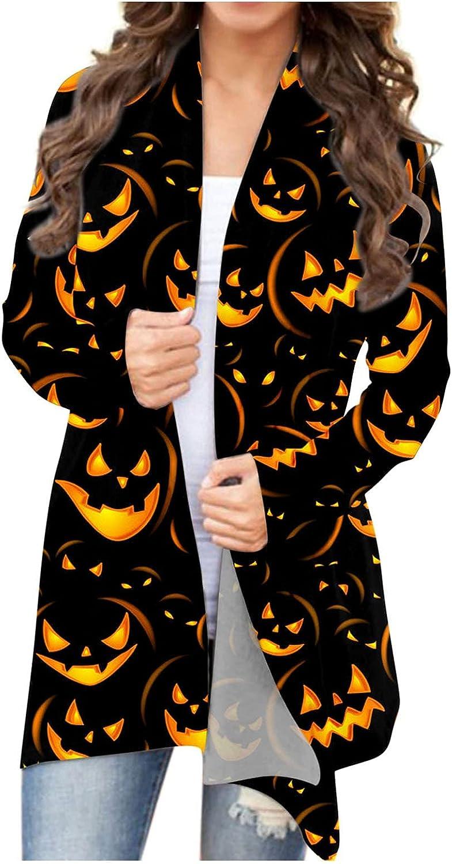 BEUU Women's Halloween Cardigan Funny Cat Pumpkin Print Open Front Knit Sweaters Fashion Autumn Coat Outwear Blouses