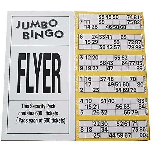 Jumbo Marca Bingo Singolo Biglietti, 6 a Vista Pagina, Giallo
