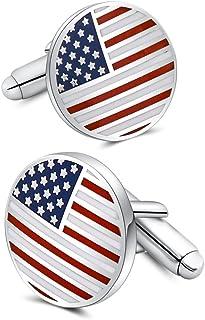 American Flag Cufflinks Platinum Plated Enamel USA Flag Cuff links Men's Accessories Patriotic Gifts
