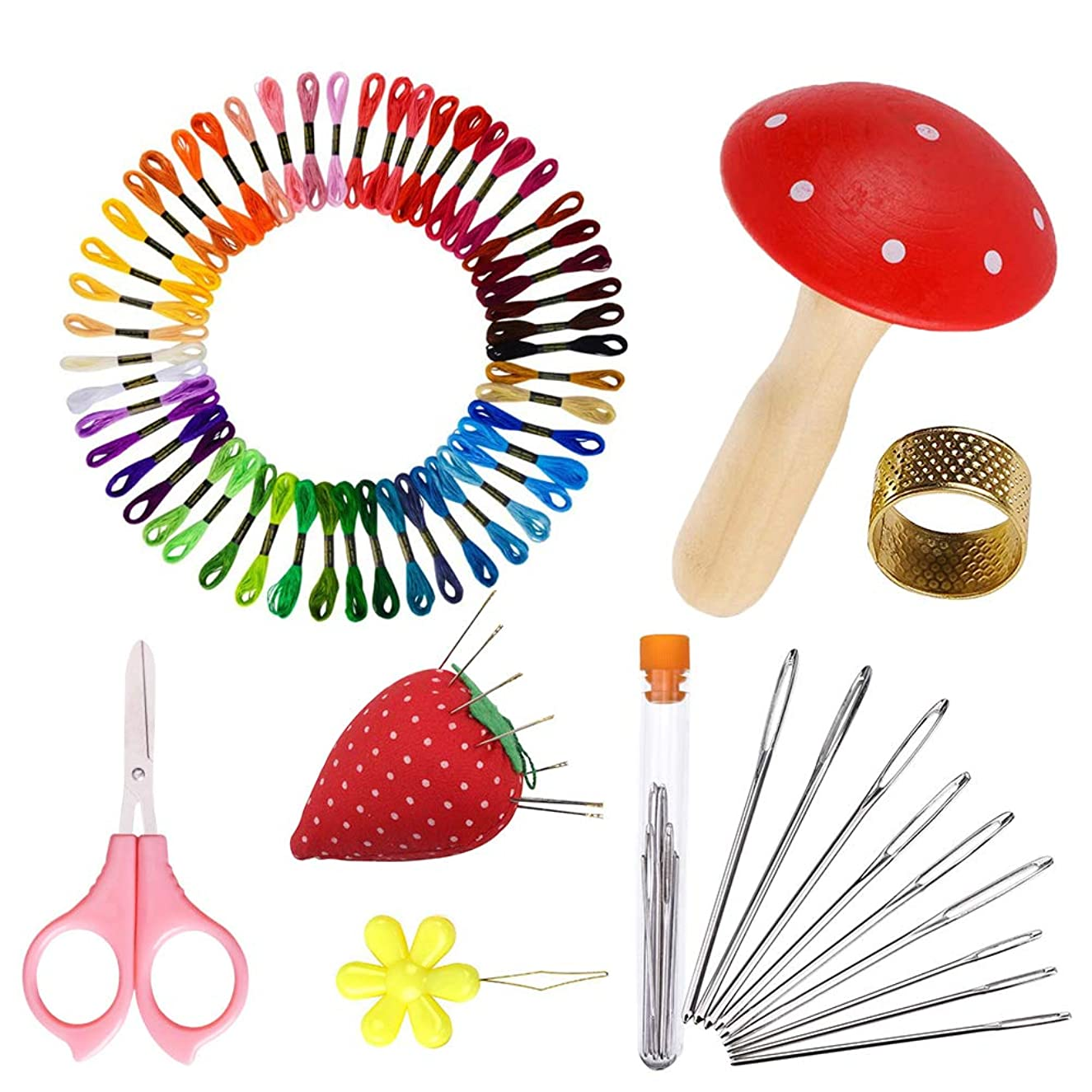 COPYLOVE Premium Kit Sewing Set with Cute Wood Darning Mushroom Darning Supplies Very Useful for Beginners, Emergency, Kids, Summer Campers, Travel and Home.