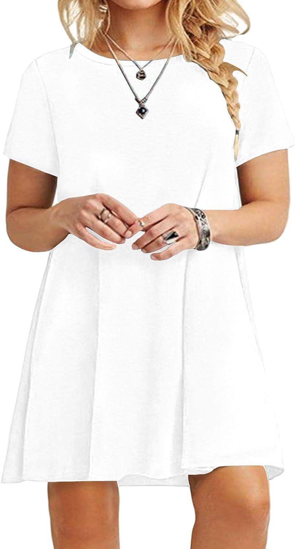KARALIN Women's Short Sleeve Casual Plain Loose Plus Size T-Shirt Dress