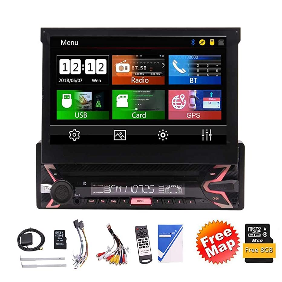 Eincar Latest Single Din 7 Inch Capacitive Touch Screen Car Stereo Built-in Bluetooth GPS Multimedia System Support SWC/USB/SD/FM/AM Radio/Multi Color Buttons + Remote Control