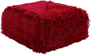 uxcell Solid Faux Fur Twin Size Blanket 59 inches x 78 inches - Decorative Fuzzy Long Shaggy Blankets Lightweight Long Fur Microfiber Fleece Blanket/Bed,Couch - Keep Warmth for Years,Burgundy Red