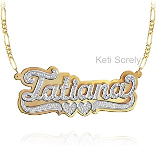 Nameplate Necklace, Double Plate.