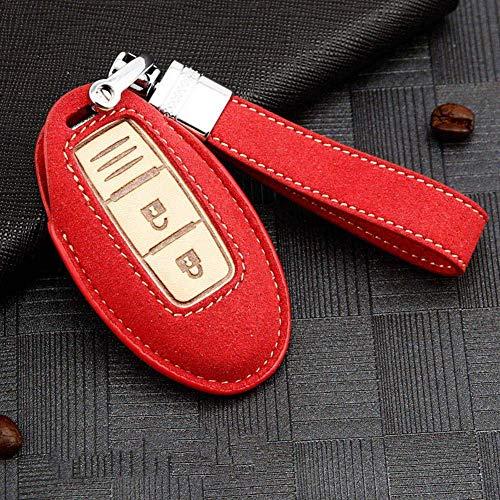 Carcasa Llave Funda Protectora De Cuero Para Llave De Coche, Para Nissan Qashqai J10 J11 X-Trail T31 T32 Kicks Tiida Pathfinder Murano Note Juke A-Rojo