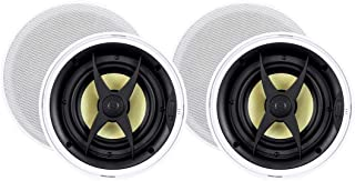 Monoprice 2 Way in-Ceiling Speakers - 6.5 Inch (Pair) with Aramid Fiber and Titanium Silk Drivers - Caliber Slim Series