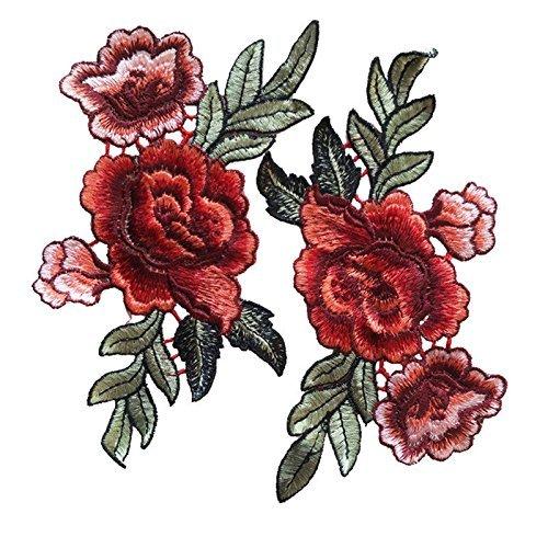 Parche bordado, cara superior, para coser o planchar,1 par de rosas, flores bordadas de Wicemoon, para camisetas, vaqueros o como decoración de sombrero, #4, #4