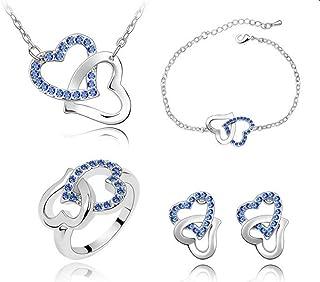 Heart to Heart Blue Swarovski Crystal Element Jewelry Set