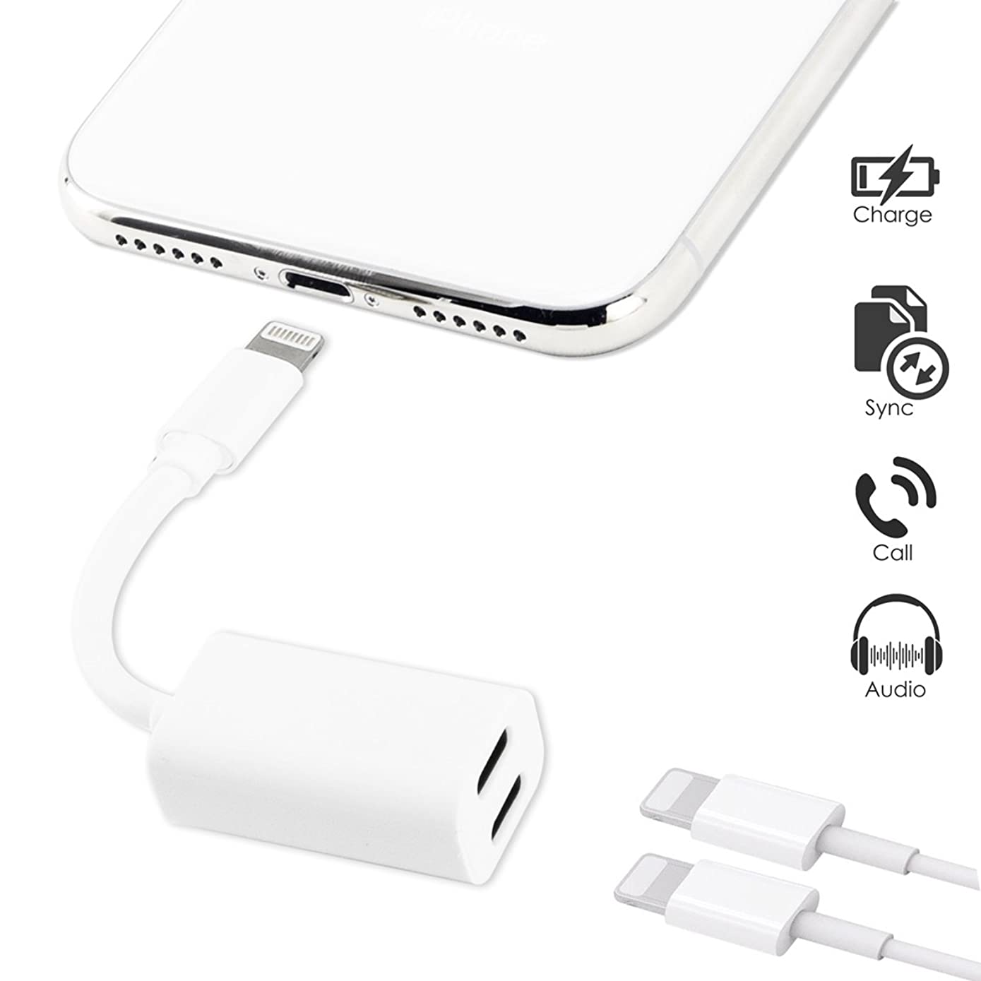 TOP CASE - Dual Lightning Headphone Audio & Charge Adapter Compatible with iPhone X/8/8 Plus/7/7 Plus and iPad Pro,Air Adapter & Splitter, iOS 10 or Later (White)