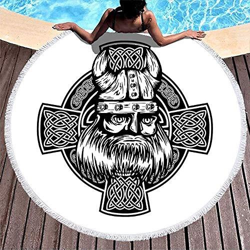 Nazi Mie Casco de Guerrero Vikingo nórdico Cruz Bosquejado Pintura Toalla de Playa Redonda Manta de Playa Abrigo de Playa Blanco