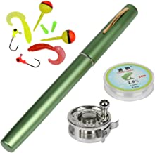 Yogayet Mini Pocket Ice Fly Fishing Rod and Reel Combos Set Aluminum Alloy Pen Fishing Pole 38'' Sea Saltwater Freshwater Kit