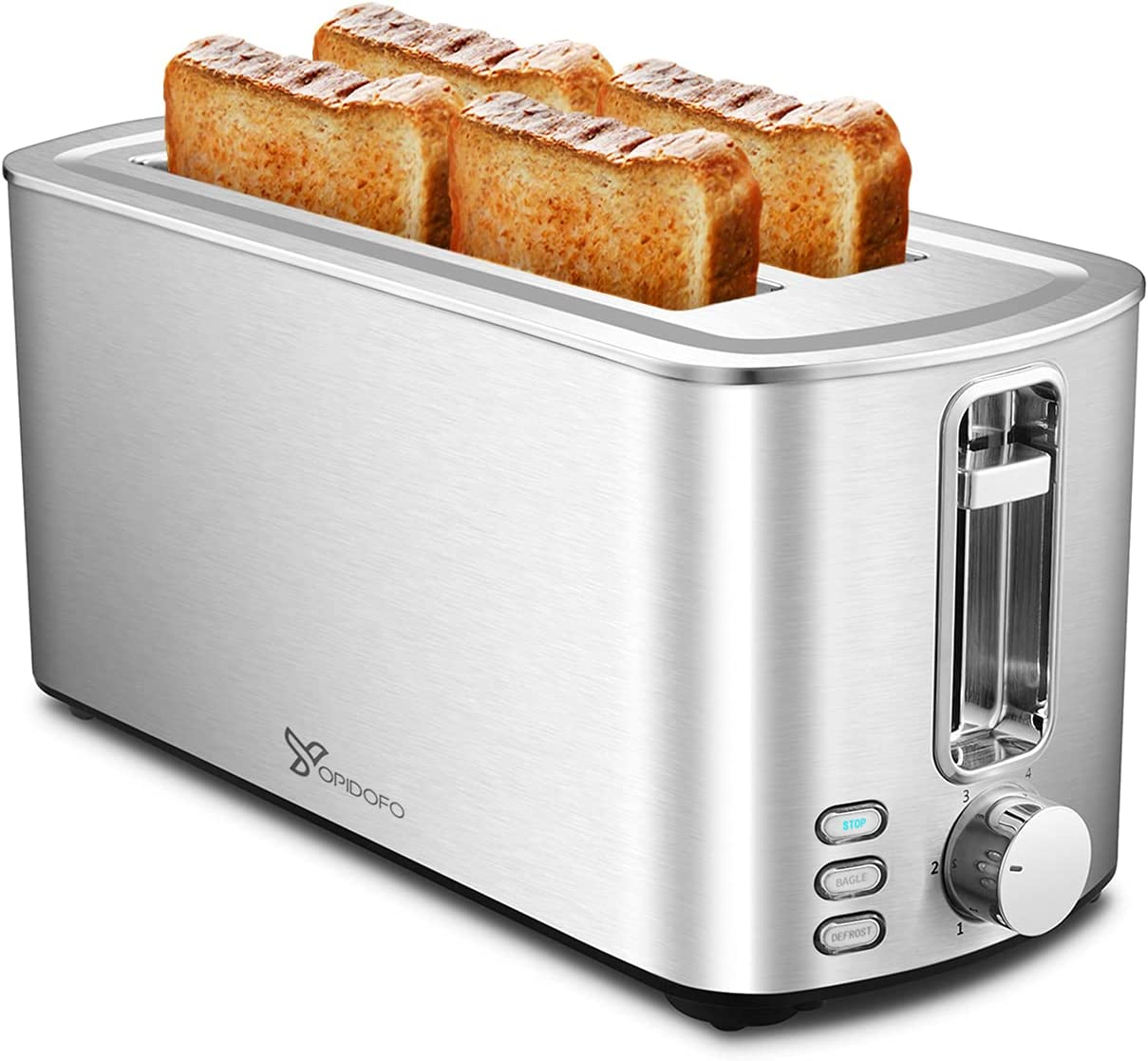 Kansas City Mall YOPIDOFO Toaster 4 Slice Stainless S Shade 6 Attention brand Steel with