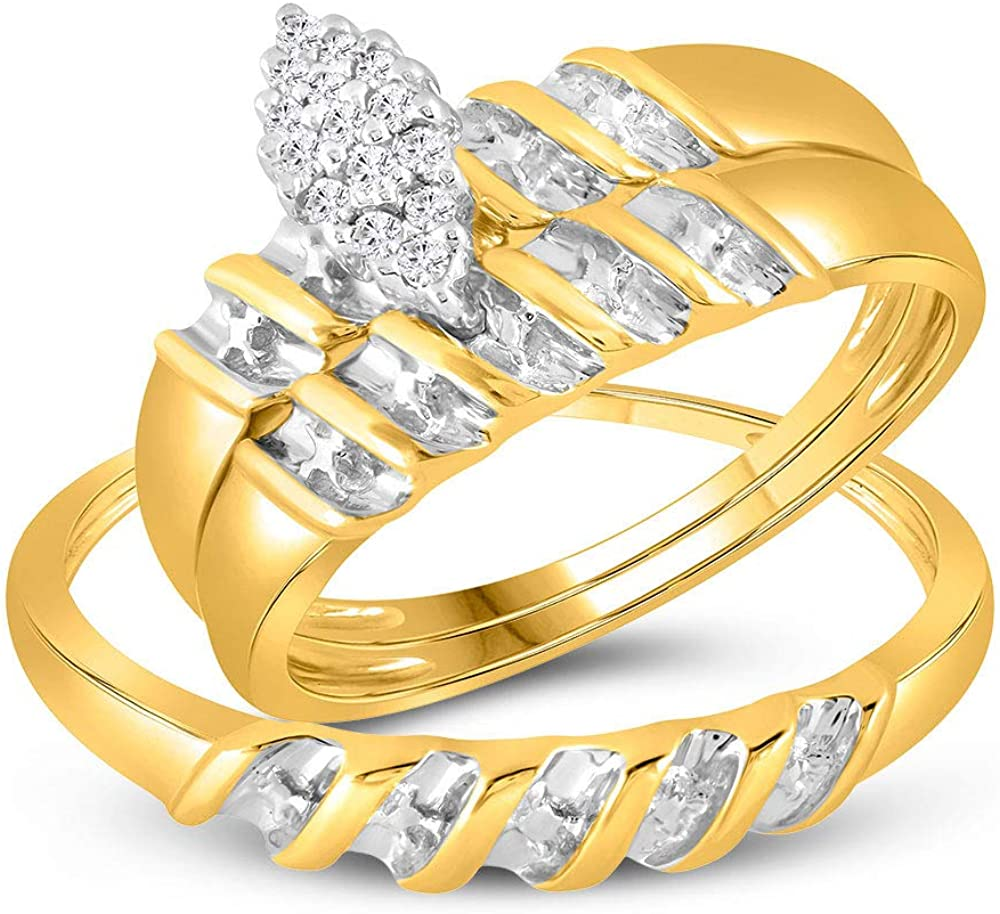 10k Yellow Gold Diamond Marquise-shape Max 57% OFF Max 43% OFF Cluster Bridal Tr Wedding