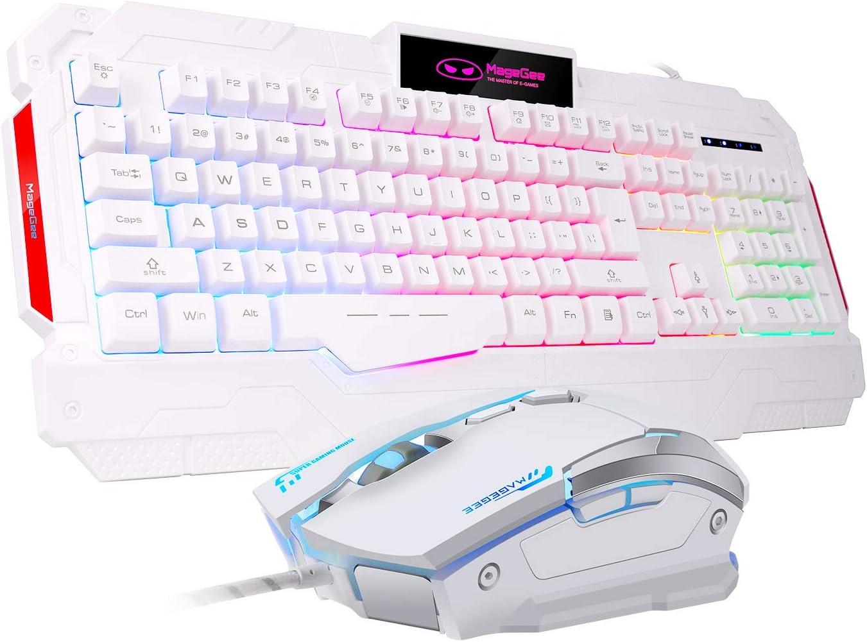 MageGee Juego de Teclado y ratón para Juegos con Cable RGB con retroiluminación LED y 7 Colores para PC y portátil
