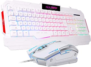 Sades USB Gaming Mouse Gaming Keyboard Combo, GK806 LED Rainbow Backlit Keyboard and Mouse Set, G7 Gaming Mouse and Keyboa...