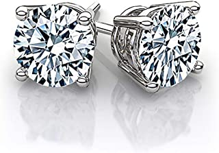 Beverly Hills Jewelers 1.00 Carat tw IGI Certified Stunning 14K White Gold Shiny And White Natural Round Brilliant Cut Diamond Stud Earrings. Secure push back post. (Appraised Over $2,235.00)