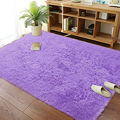 Soft Modern Shaggy Fur Area Rug Fluffy Bedroom Livingroom Decorative Floor Carpet, Non-Slip Large Plush Comfy Warm Furry Fur Rugs for Boys Girls Nursery Accent Rugs 5x8 Feet, Purple