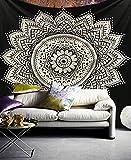 Exclusivo tapiz Raajsee con diseño de mándala, color blanco con negro, algodón, negro, 140*220cms