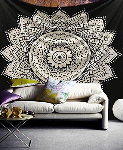 raajsee Indisch Wandteppich Mandala Baumwolle/Indien Wandbehang Schwarz Weiß Lotus Mandala groß Hippie Bohemian Psychedelic Ombre Wand Tuch/Yoga Meditation Rugs (Lotus Mandala, 140 x 210 cm Twin)