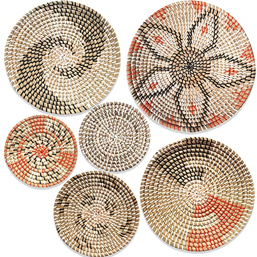 Hanging Woven Wall Basket Decor Set of 6 | Seagrass Baskets Wall Decor | Perfect For Natural Boho...
