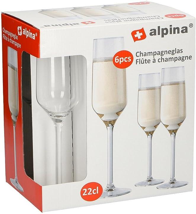 Set 6 bicchieri champagne flute 22 cl switzerland tavola ristorante bar -alpina 86428