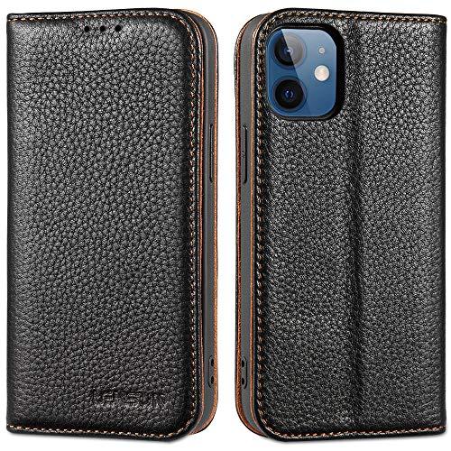 LENSUN Funda iPhone 12 Mini con Tapa, Funda de Cuero Genuino con Cierre Magnético y Ranuras para Tarjetas Carcasa Libro Protección para Apple iPhone 12 Mini - Negro (12M-DC-BK)