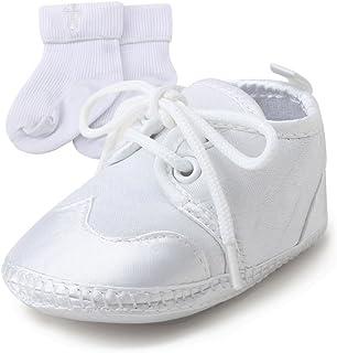 8be5fa57c9014 DELEBAO Bébé Fille Blanc Chaussures en d espadrille Anti-Dérapant Chaussure  Bapteme Bébé Semelle