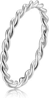 خواتم بسيطة رقيقة للمفاصل للنساء الرجال S925 خاتم بينكي فردي تويست خواتم الإبهام حجم 2.5-8.5