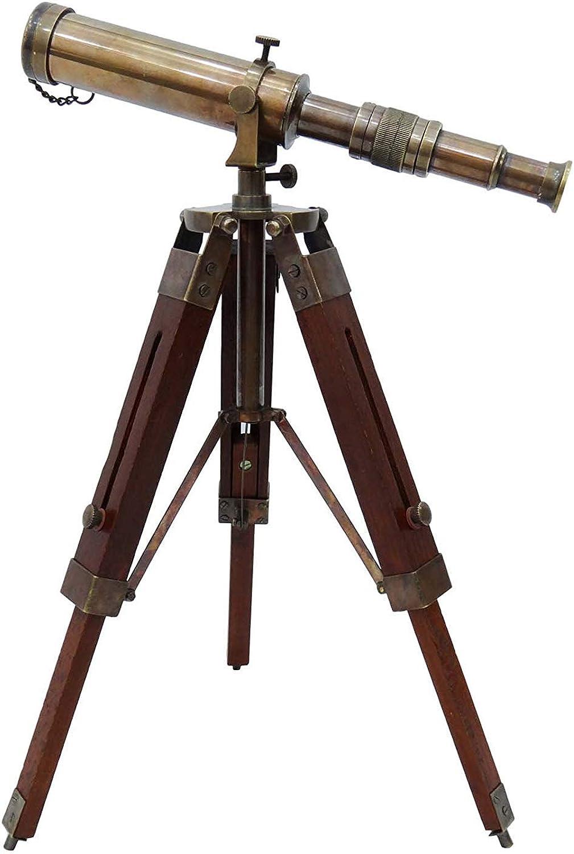 Telescope Brass Pirate Solid Spyglass Wood Decorative Stand Indian Nautical