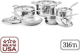 Heritage Steel 10 Piece Cookware Set - Titanium Strengthened 316Ti Stainless Steel with 7-Ply Construction - Induction-Ready and Dishwasher-Safe, Made in USA