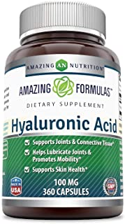 Amazing Formulas Hyaluronic Acid 100 mg Capsules - Support Healthy Connective Tissue and Joints - Promote Youthful Healthy...