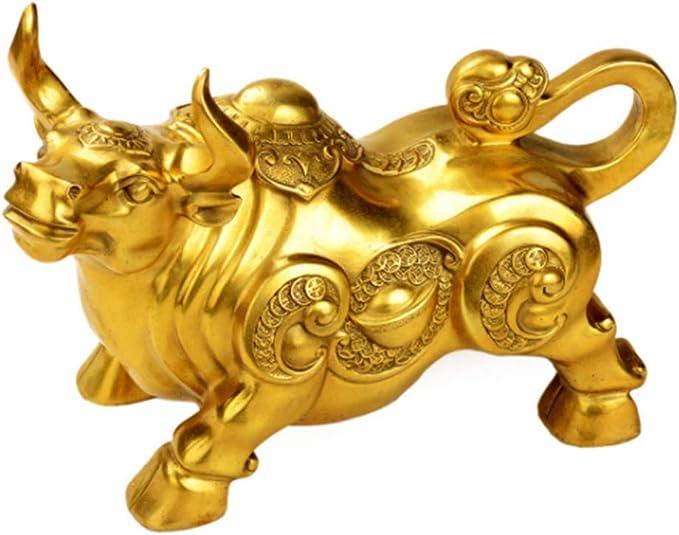 NanXi Feng Shui Fortune brass figure bull statue sculpture Hausdeko Golden Copper Bull represents good luck and wealth of career