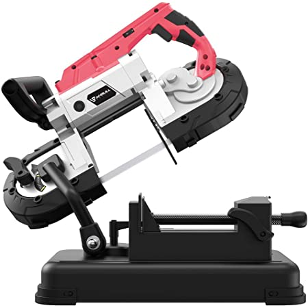 Anbull Portable Band Saw with Removable Alloy Steel Base, 45°-90° Metal Cutting, 10A 1100W Motor, 5-inch Deep Cut, with .025-by-44-7/8-Inch 14 TPI Saw Blade and Led Spotlight