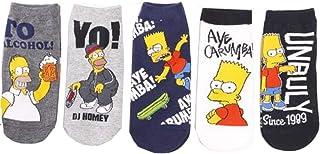 Jintong, 5 pares divertidos calcetines de impresión de dibujos animados Simpson calcetines personalizados novedad hombres mujeres algodón transpirable Hip Hop calcetín regalos
