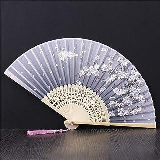 Abanico Plegable,La Mujer Ventilador De Bambú Borla Hueco Portátiles Ventilador Plegable Gris Claro Cerezo Butterfly Ventilador Plegable,Adecuado Para Boda Regalo Dama Danza Ventilador Ventilador P