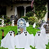 PRAISUN Halloween Yard Ghost Stake with Shining Face, Set of 3, Halloween Outside Yard Decorations, Lawn Yard Decorations, Trick or Treating