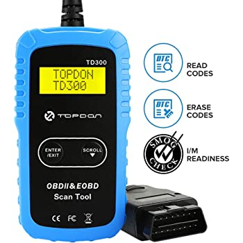 TT TOPDON OBD2 Scanner Code Reader - Car Diagnostic Scan Tool Clears Check Engine Light, I/M Readiness Check, TD300 Read 7000 DTC Definitions for All 1996+ Vehicles, Easy Operation