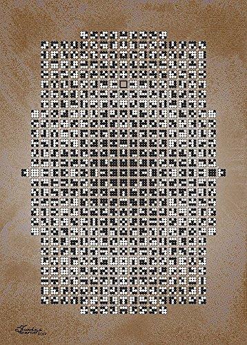 Feeling at home IMPRESSION-sur-TOILE-ENROULÉE-Noir-et-blanc-Mosais-sur-fond-brun-Sundas-Marco-Abstrait-Affiche-imprimer-sur-toile-enroulée-100% coton-pour-décoration-murale-Dimensions-102_X_73_cm