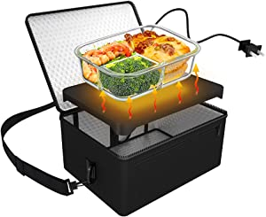 [Upgraded] Portable Oven, 110V 90W Portable Food Warmer Personal Portable Oven Mini Electric Heated Lunch Box for Reheating & Raw Food Cooking in Office, Travel, Potlucks and Home Kitchen (Black)