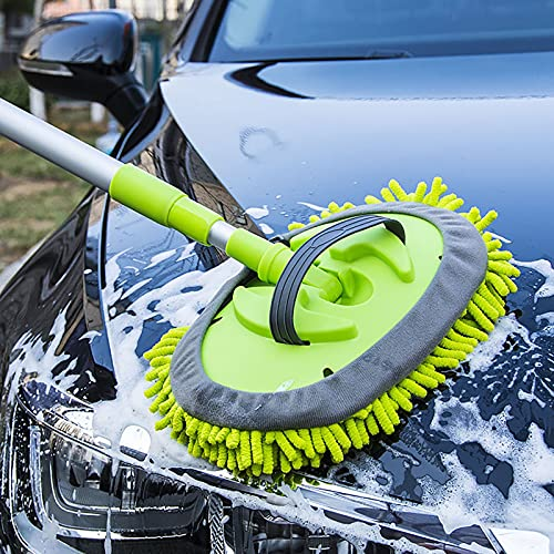 LONGLE Car Wash Mop Mitt 2-in-1 Chenille Extendable Aluminum Alloy Long Handle Car Wash Mop Brush Car Wash Auto Care Kit with 2 Detachable Microfiber Mop Heads for Vehicles and Household Cleaning