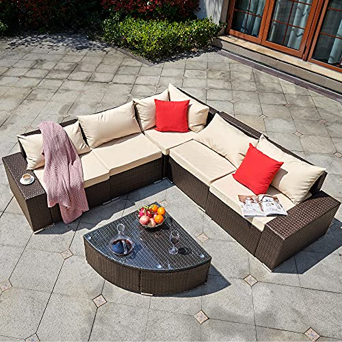 YITAHOME 6 Pieces Patio Furniture Set, Outdoor Sectional Sofa PE Rattan Wicker Conversation Set with Table and Cushions for Porch Lawn Garden, Brown