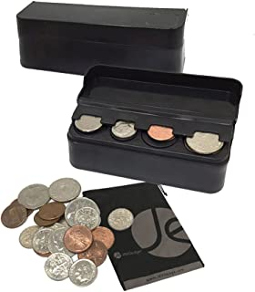 JAVOedge JE (2 Pack) Coin (Quarter, Dimes,etc) Change Holder Storage Sorter Case with Lid for Car, Truck, RV Interior Accessories