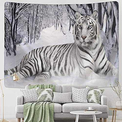 KHKJ Bosque AnimalWhite Tigre Tapiz Tapices para Colgar en la Pared Cubierta Toalla de Playa Manta de Picnic Decoración del hogar A2 150x130cm