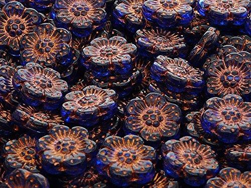 4pz Flower Beads - Pressate Perle di Vetro ceche in Forma di Fiore 14mm, Un Foro, Sapphire with Bronze Fired Color