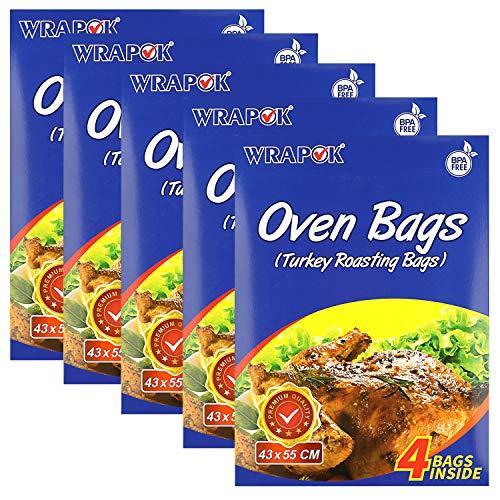 WRAPOK - Bolsas de cocina de tamaño grande, sin BPA, kit de asado de pavo, resistentes al calor, para pollo, carne, jamón, mariscos, verduras, 20 bolsas