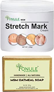 Ionule MSM Stretch Mark Cream with Oatmeal Soap for Men and Women Combo Pack of 2 - (2 X 90 gm)