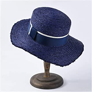 Lafite Straw hat Female Flat Sunscreen Visor Men's Flat top Sun hat Beach hat` TuanTuan (Color : Blue)