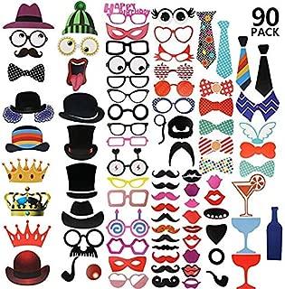 Kiwill 89Pcs DIY Photo Booth Props Atrezzo Favorecer Incluyendo Cómica Divertida Creativa Bigotes Gafas Pelo Arcos Sombreros Labios para el Partido Boda Cumpleaños y La Graduación