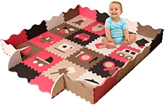 Baby Foam Play Mat with Fence - Interlocking Crawling Mat with 16 Foam Floor Tiles